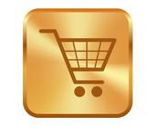 Einkaufswagen in Gold