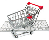 Einkaufswagen auf PC tastatur